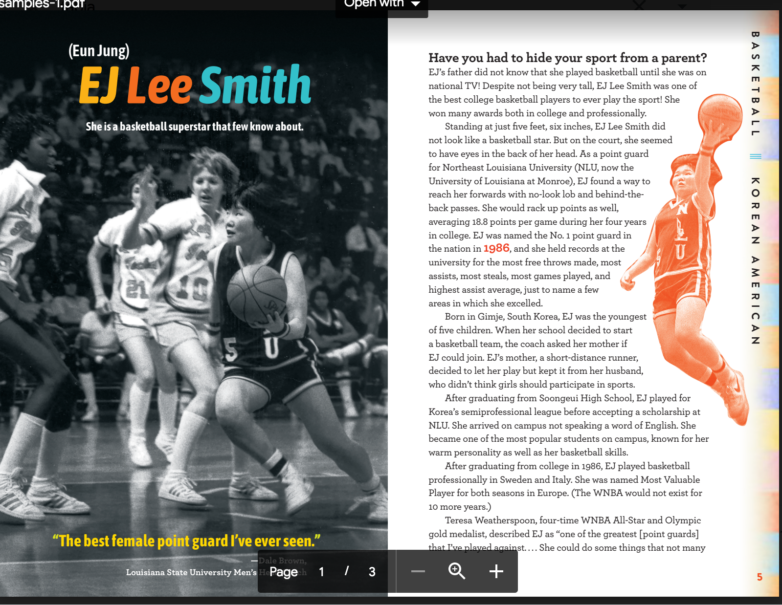 Changing the Game EJ Lee Smith page spread draft