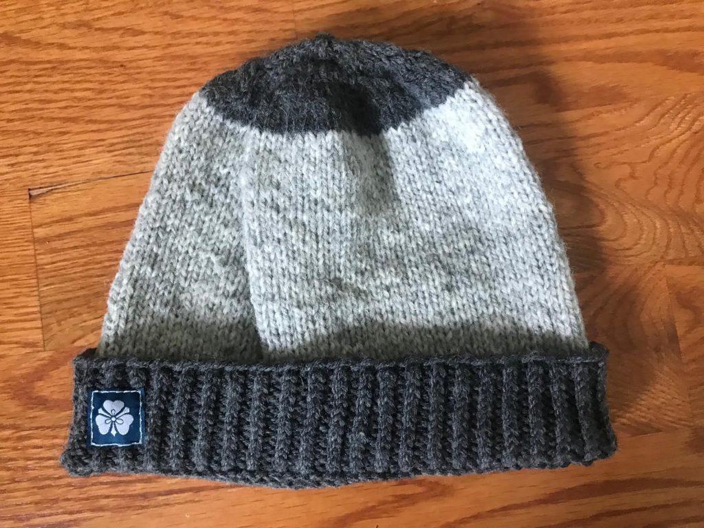 Large Grey Sandwich Stripes Hat