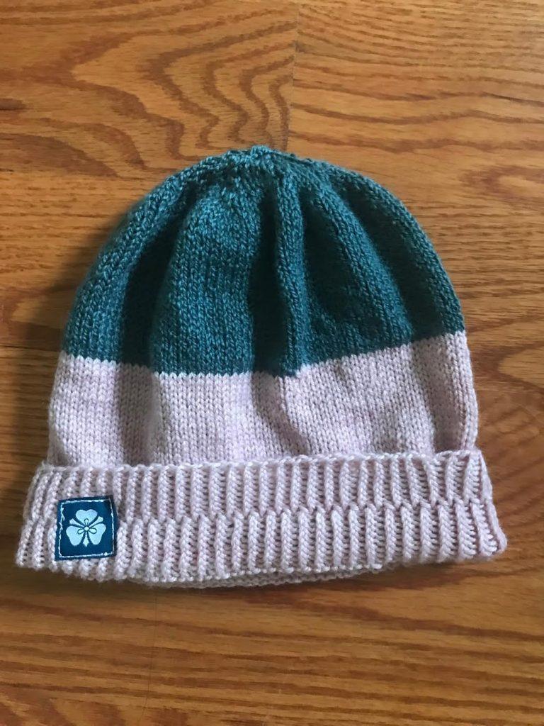 Pink Teal Grey Knit Hat